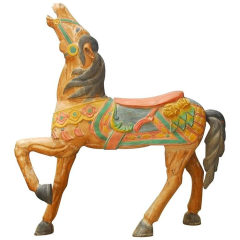 Polychrome Decorated Standing Carousel Horse