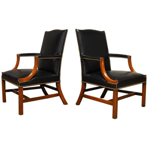 Famous Pair of Black Leather Mahogany Gainsborough Library Chairs