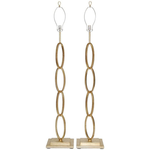Pair of Silver Leaf Chain Link Floor Lamps by Currey