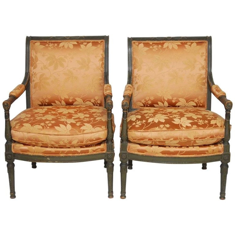 Pair of Louis XVI Painted Directoire Style Fauteuil Armchairs