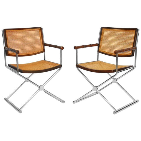 Pair of Mid-Century Chrome and Caned Director Chairs