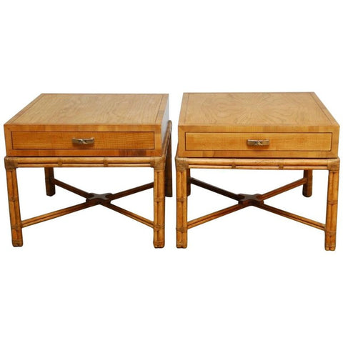Pair of Mid-Century Faux Bamboo End Tables by Henredon