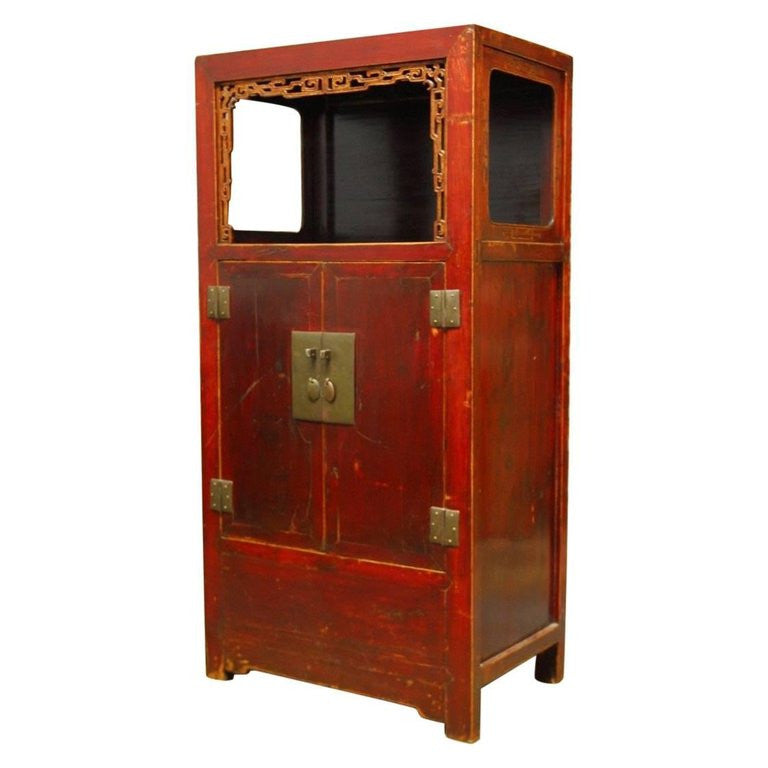 Chinese Red Lacquer Cabinet with Display Shelf