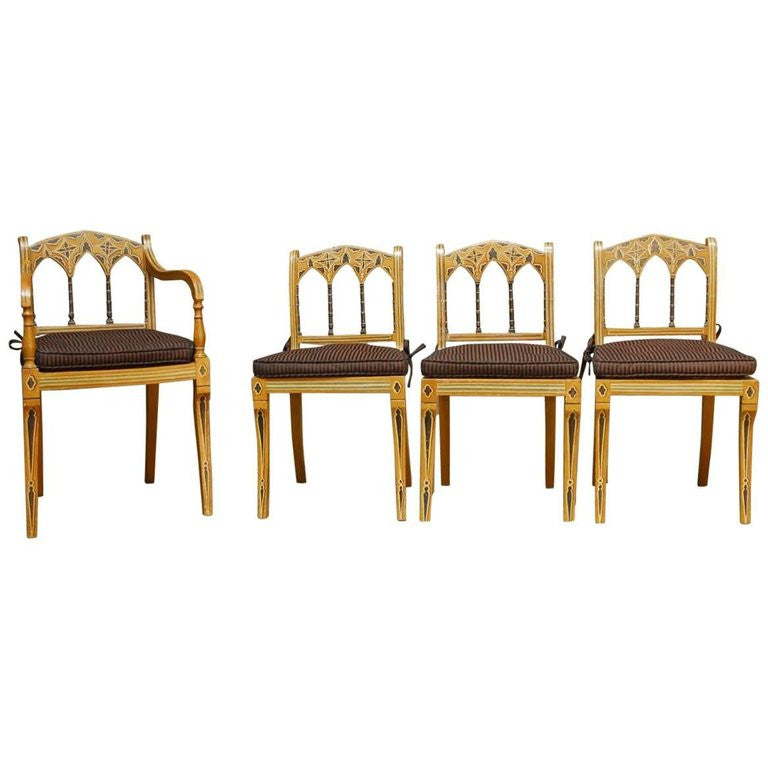 Set of Four English Regency Chairs Made in the Moorish Style