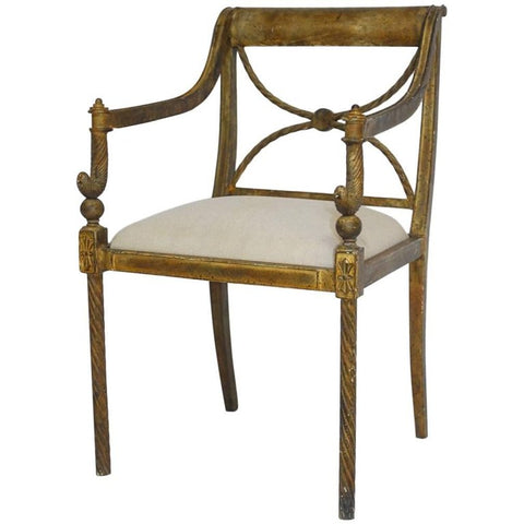 Regency Metal Neoclassical Rope Armchair