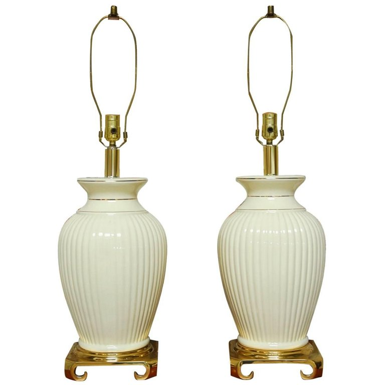 Pair of Hollywood Regency Brass and Porcelain Vase Table Lamps