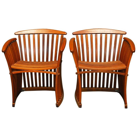 Pair of Bentwood Steamer Armchairs by Thomas Lamb