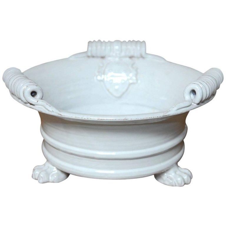 Italian Glazed Ceramic Footed Jardiniere with Craquelure Finish