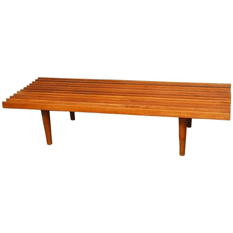 Mid-Century Modern Low Slat Wood Bench Coffee Table