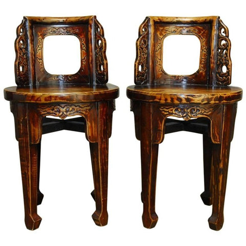 Pair of Chinese Carved Round Backed Stools