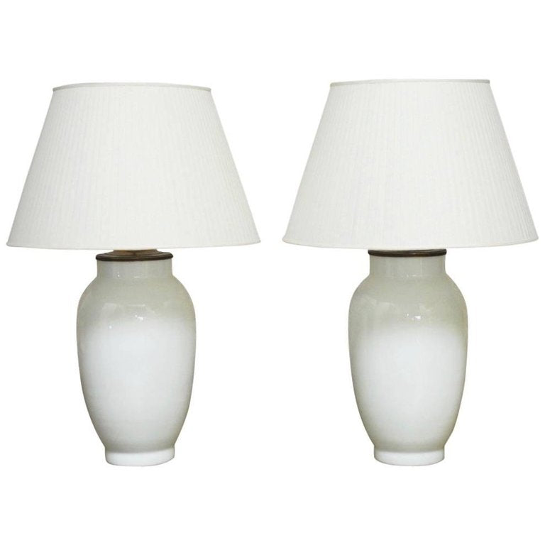 Monumental Pair of Blanc de Chine Baluster Form Table Lamps