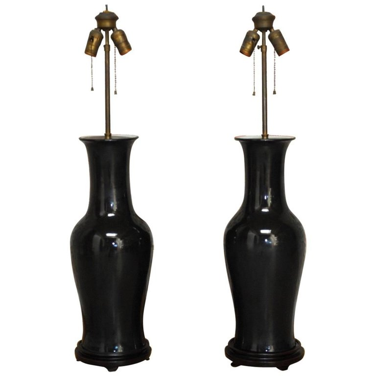 Pair of Chinese Black Noir Porcelain Vase Table Lamps