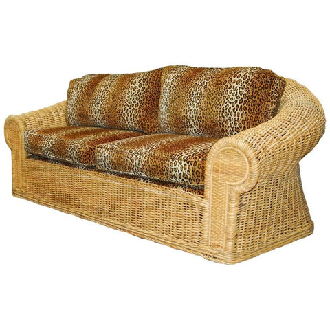 Michael Taylor Inspired Wicker Sofa with Scalamandre Style Leopard Upholstery