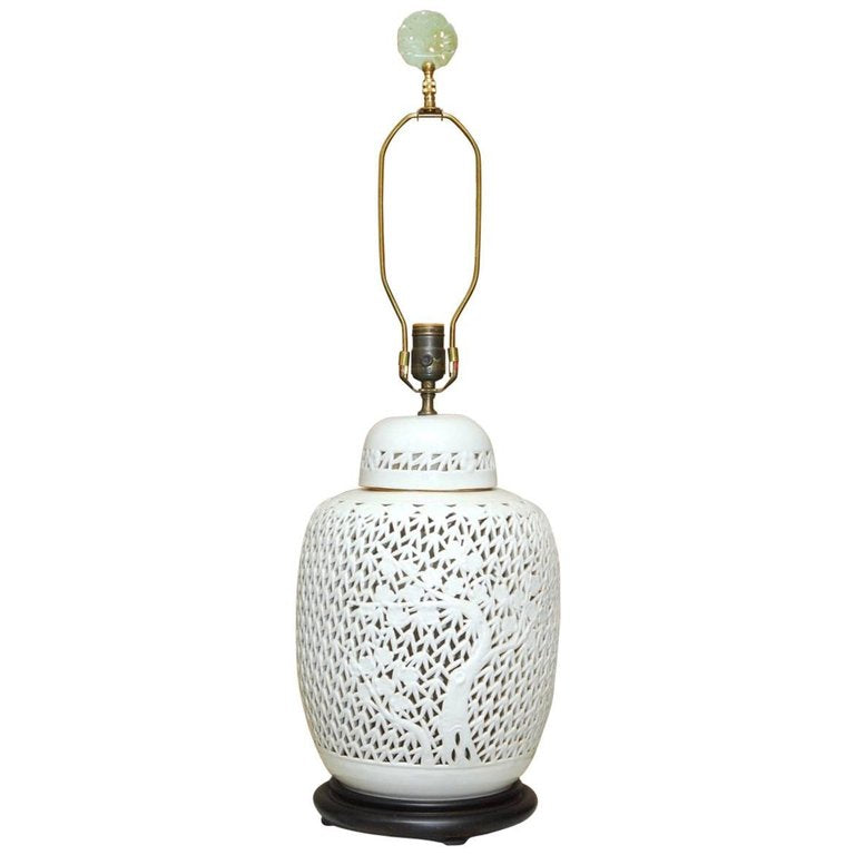 Mid-Century Reticulated Porcelain Blanc de Chine Table Lamp