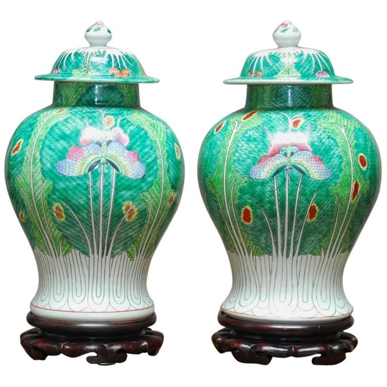 Pair of Chinese Qing Cabbage Leaf and Butterfly Ginger Jars