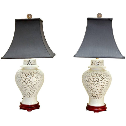 Pair of Blanc de Chine Porcelain Ginger Jar Table Lamps
