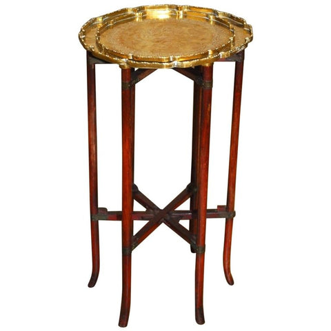 Asian Six-Leg Folding Brass Tray Table or Drink Table