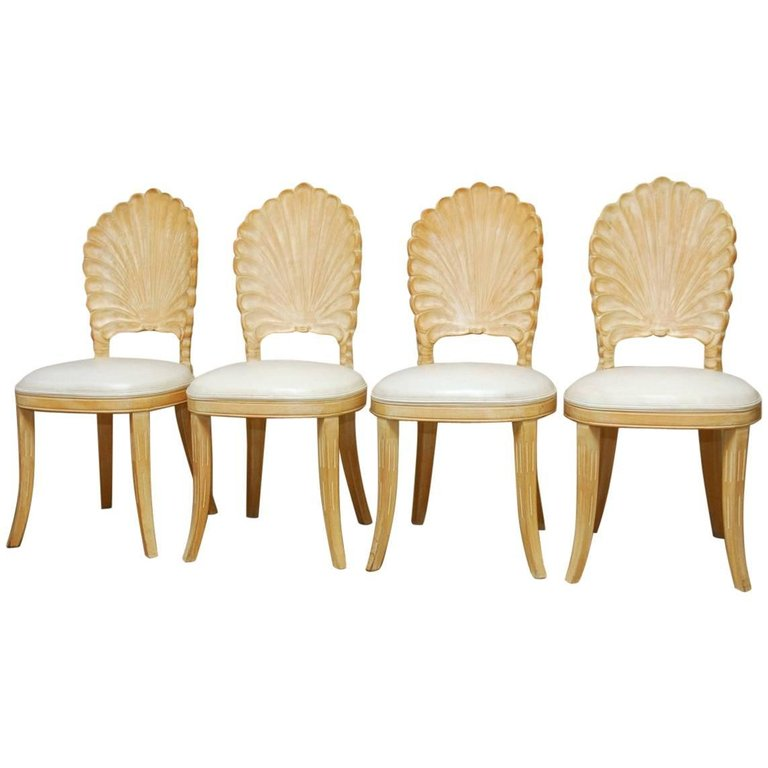 Set of Four Venetian Grotto Shell Back Dining Chairs