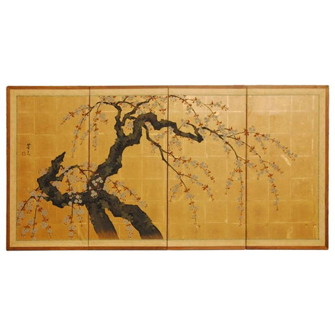Japanese Four Panel Byobu Screen Sakura Cherry Blossom Tree