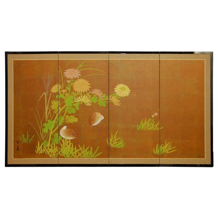 Japanese Four Panel Byobu Screen of Quail and Flowers