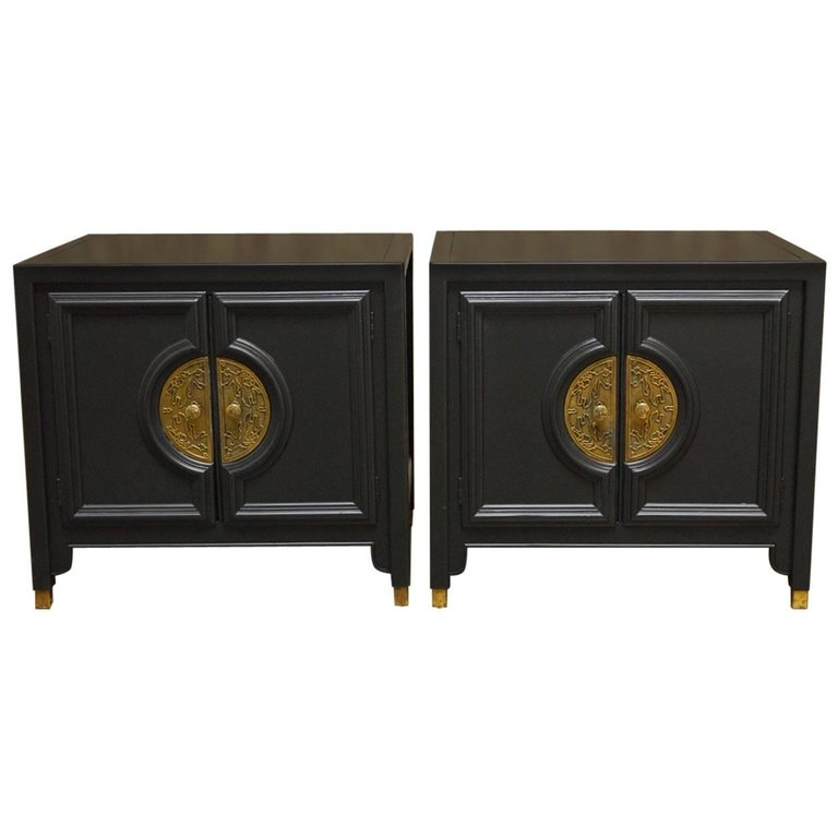 Pair of James Mont Style Century Furniture Lacquer Nightstands