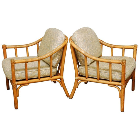 Pair of Organic Modern Bamboo Lounge Chairs by McGuire