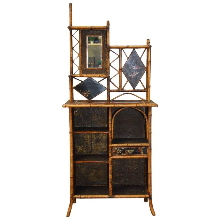 19th Century English Regency Bamboo Etagere or Bookcase