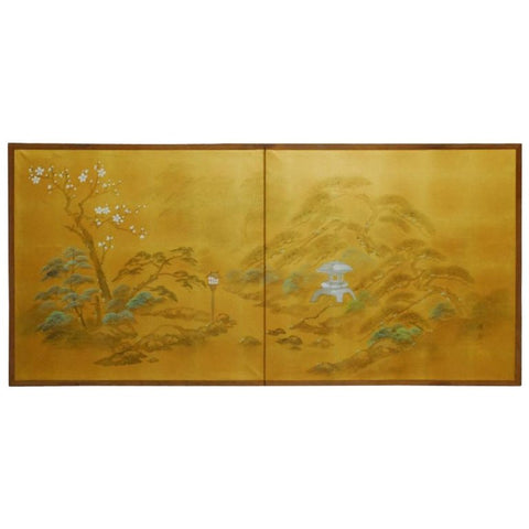 Japanese Two-Sided Folding Byobu Silk Screen