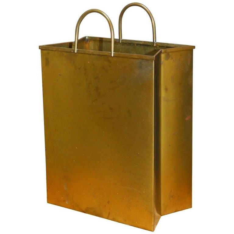 Gio Ponti Attributed Brass Shopping Bag Magazine Holder Wastebasket