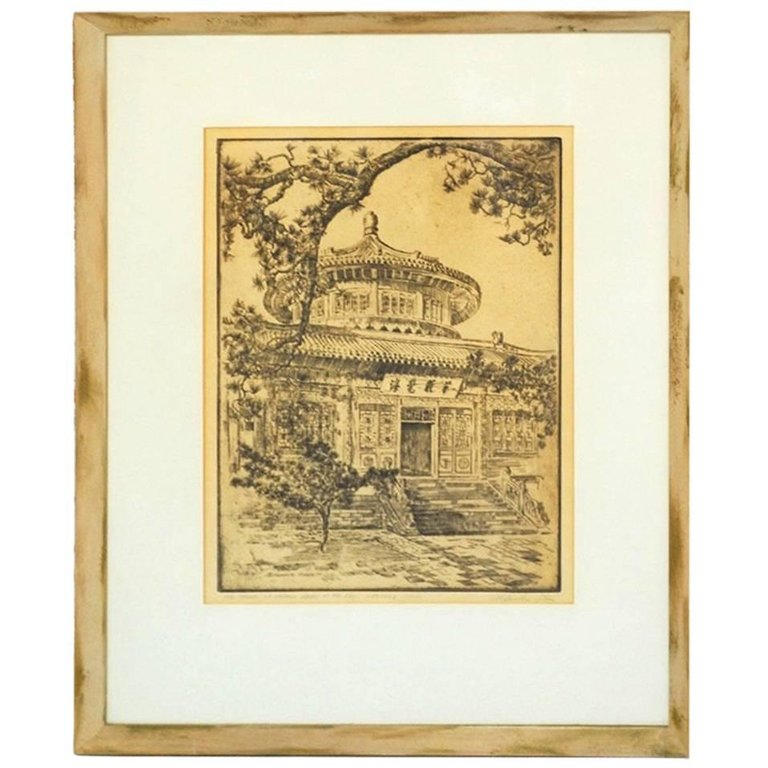 Alexander Stern Etching Peking China 1932