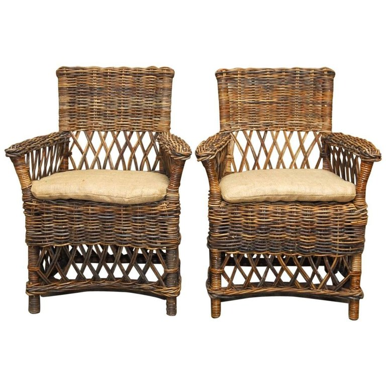 Pair of Bar Harbor Style Stick Wicker Armchairs