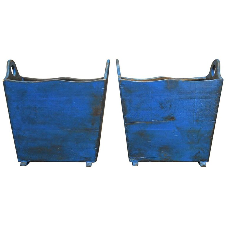 Pair of Painted Wooden Harvest Crate Bins