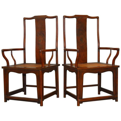 Pair of Chinese Ming Style Guanmaoyi Official's Armchairs