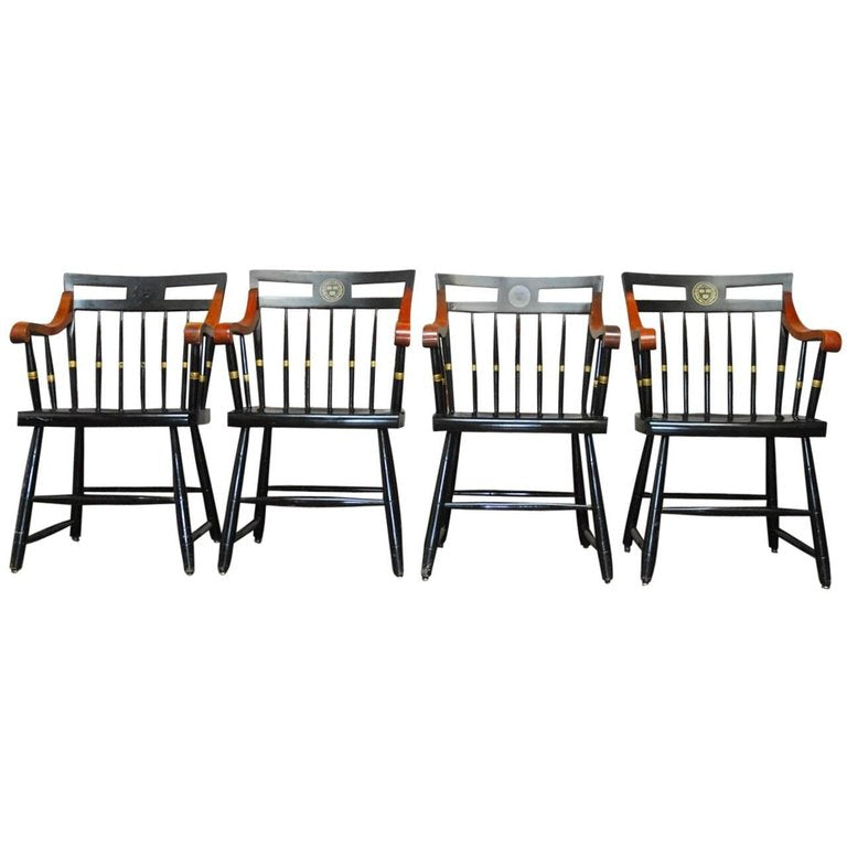 Set of Four Nichols and Stone Harvard Scholar's Chairs