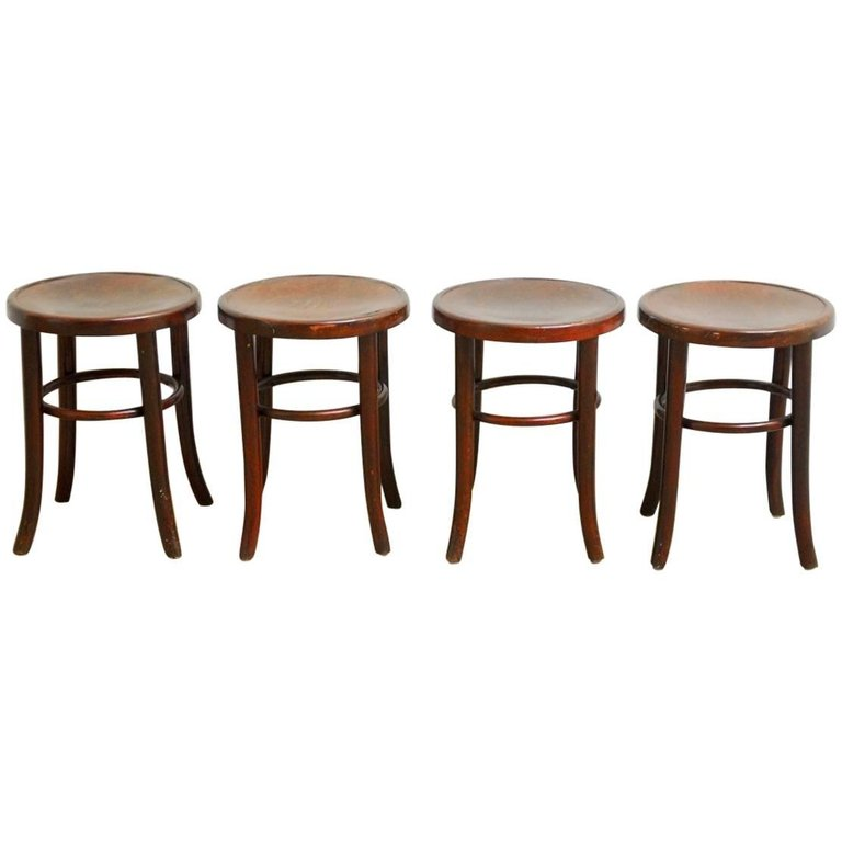 Set of Four Thonet Bentwood Bistro Stools