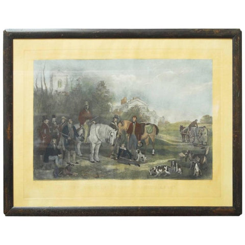 19th Century English Hunt Scene Hand-Colored Engraving