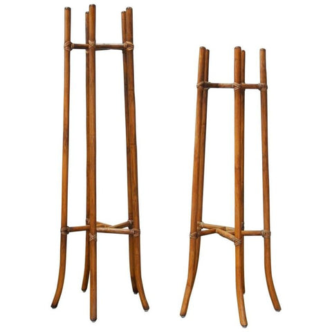 Pair of Mid-Century Bamboo Rattan Plant Stands by McGuire