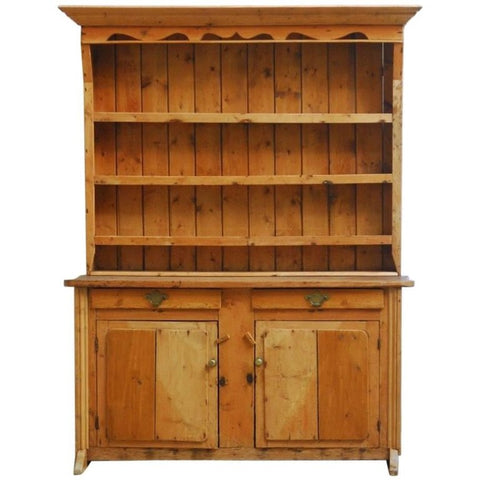 19th Century English Pine Welsh Cupboard Dresser with Rack