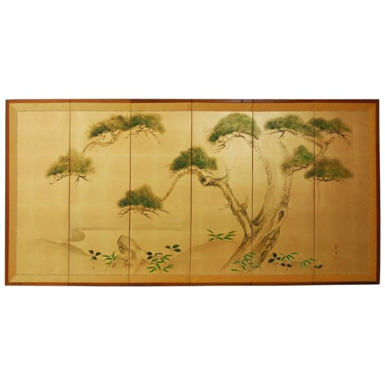 Japanese Six-Panel Byobu Screen of Pine Trees on Gold Leaf