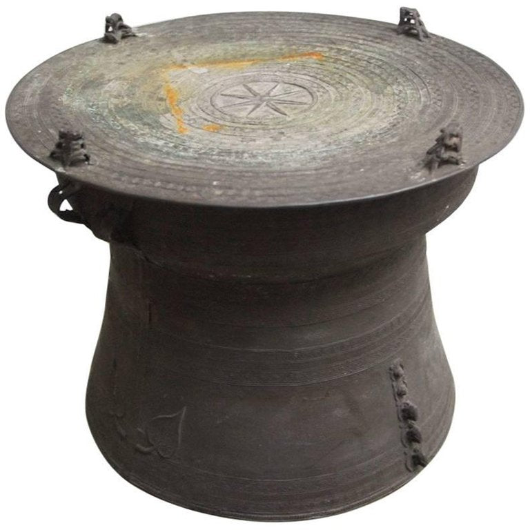 Southeast Asian Patinated Bronze Rain Drum Table