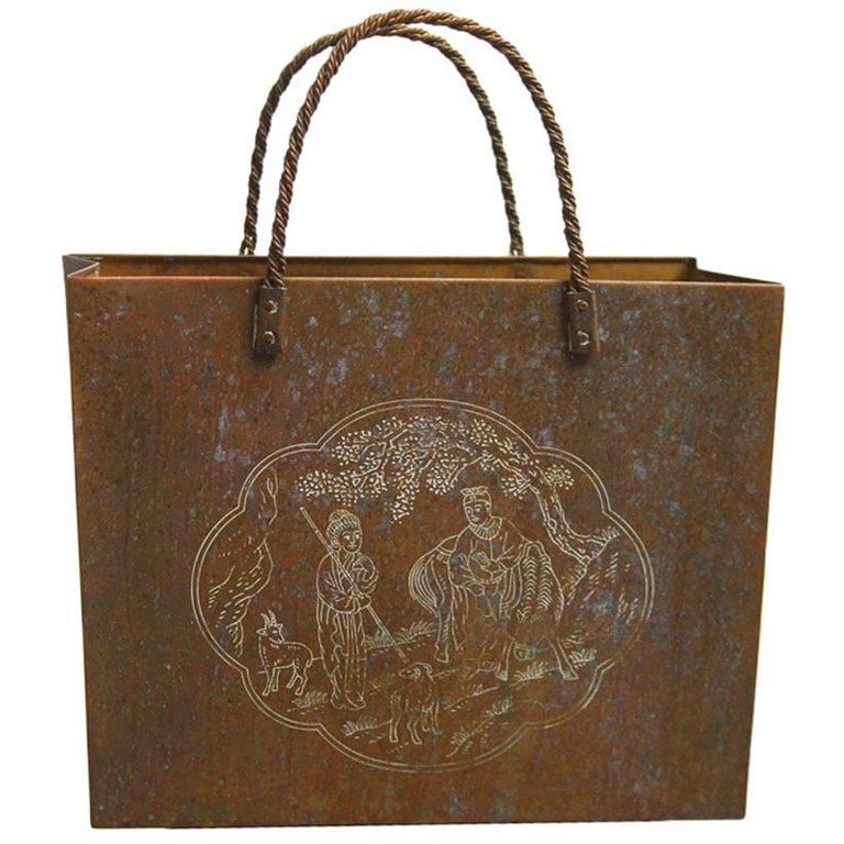 Italian Etched Brass Shopping Bag or Wastebasket