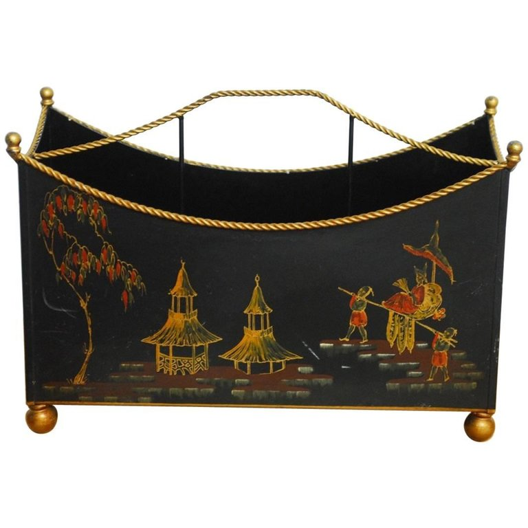 Italian Chinoiserie Japanned Magazine Rack for Bergdorf Goodman