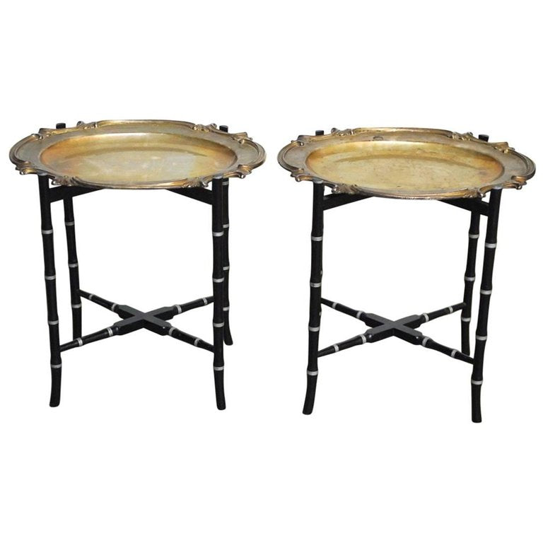 English Silver-Plate Tray Tables on Faux Bamboo Stands