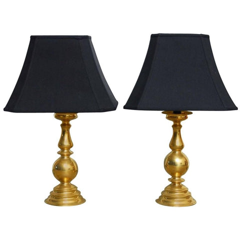 Pair of Polished Brass Baluster Form Candlestick Lamps