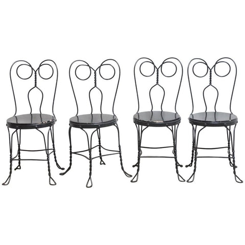Set of Four Metal Bistro or Ice Cream Parlor Chairs