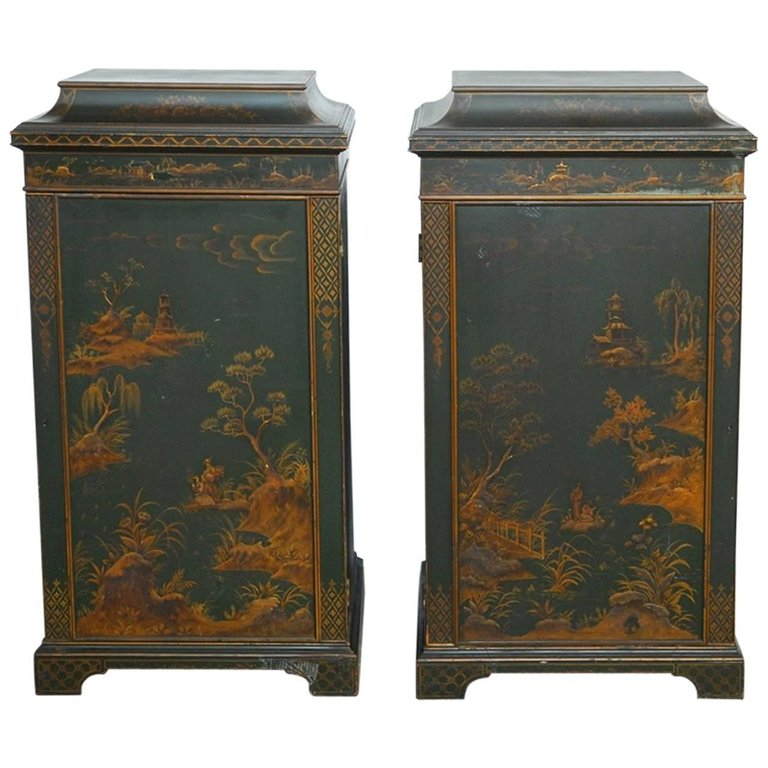 Pair of English Green Lacquer Japanned Chinoiserie Pagoda Cabinets