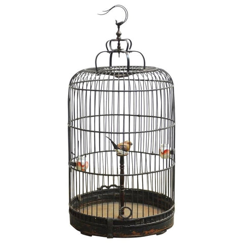 Antique Chinese Domed Bamboo Bird Cage