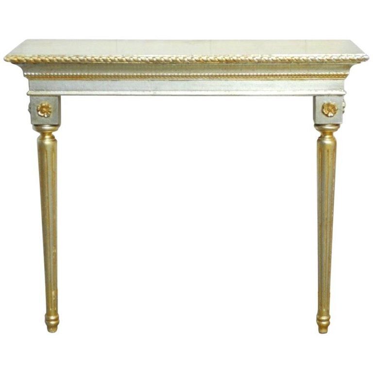 French Louis XVI Style Silver Gilt Console Table
