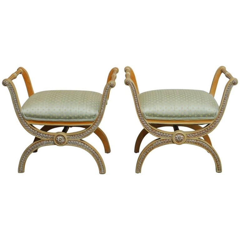 Pair of Italian Neoclassical X-Form Curule Benches