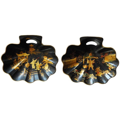 Pair of English Chinoiserie Japanned Shell Form Crumb Trays